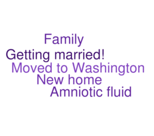a word cloud of all the life transitions people mentioned during water communion